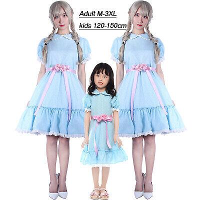 The Shining Lisa Louise Burns Grady Twins Dress Blue Halloween Lolita Skirts Bow