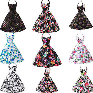 Floral-Print-1950s-Vintage-Rockabilly-Swing-Prom-Cocktail-Dress-Cotton-SZ-S-XL