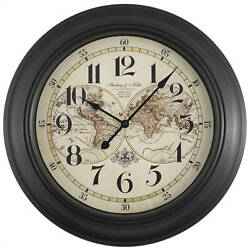 Old World Map Design Large 15.5 Wall Clock, Rich Black, Quiet Movement