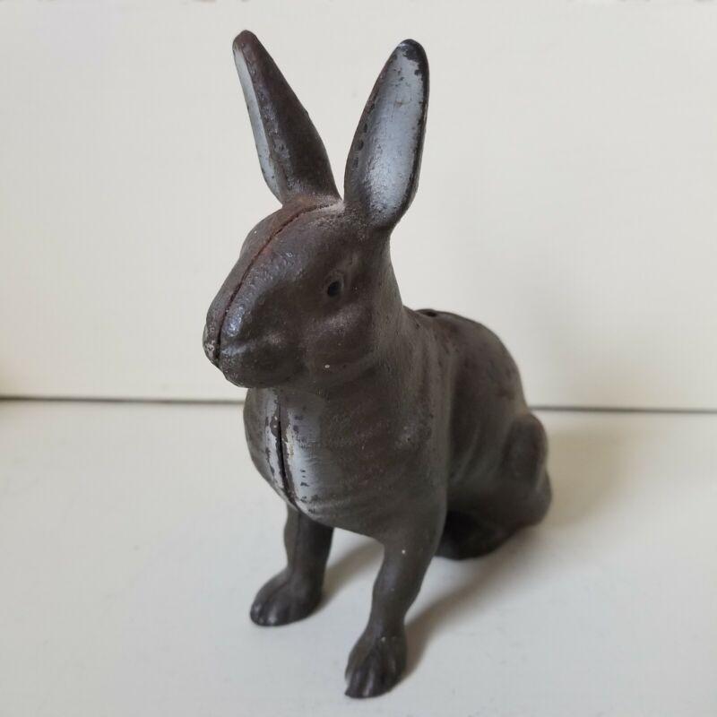Vintage Cast Iron Bunny Rabbit Coin Bank Original Paint