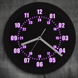 Military Time 24 Hours Display Neon Sign Wall Clock Watch with LED Backlight