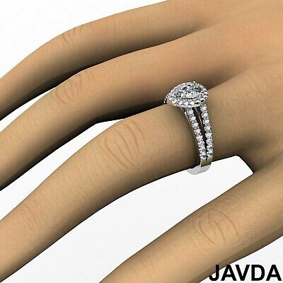Halo French Setting Pear Diamond Engagement Split Shank Ring GIA F VS1 1.25 Ct 3