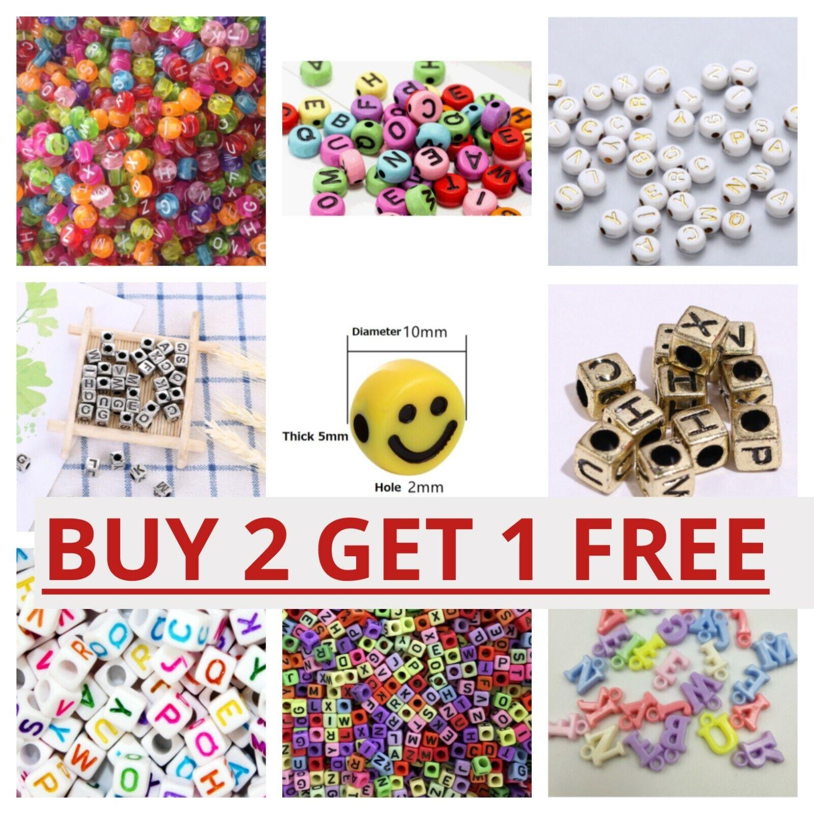 Jewellery - 200 Alphabet Letter Mixed Colour Beads Gems Kids Girls DIY Jewellery Xmas Gift