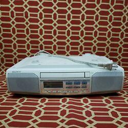 Sony Under Cabinet CD Player Clock Radio Model ICF-CD513 Mega Bass Works Great!