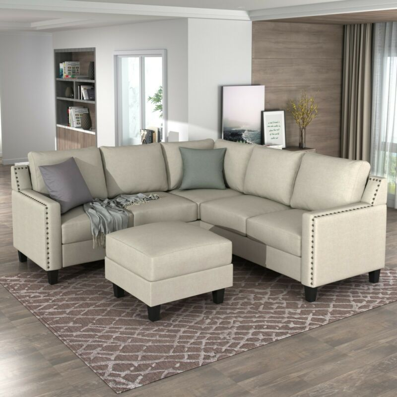 2 Piece Living Room Rivet Modern Upholstered Sofa Set with Cushions Beige