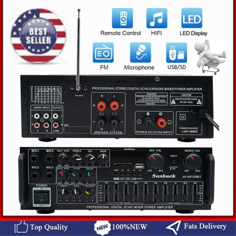 2000W HiFi Bluetooth Power Amplifier Car Home Stereo Audio 2 Channel FM Amp AB