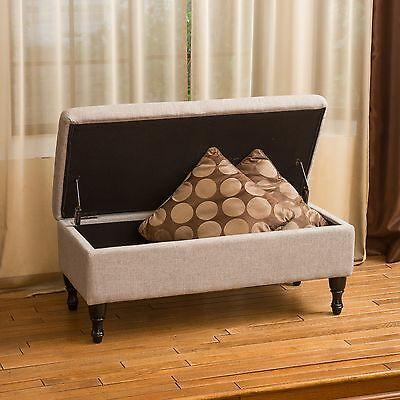 Living Room Grey Fabric Storage Ottoman w/ Plush Tufted Top