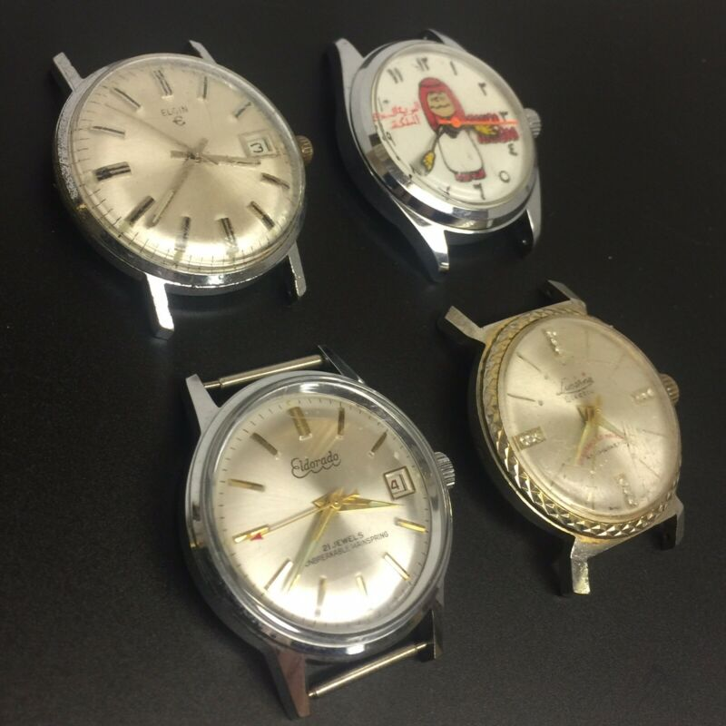 Lot of 4 running Men's Vintage Watches (Eldorado, Elgin, Lucerne, Peanuts)