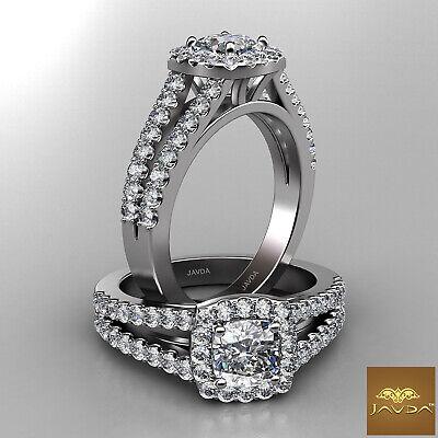 Cushion Diamond Engagement GIA F VS1 18k White Gold Halo Prong Set Ring 1.47Ct