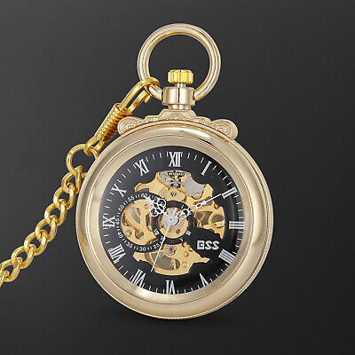 Mechanical Pocket Watch Black Dial Transparent Roman Numeral Skeleton Fashion Black Roman Numeral Pocket Watch