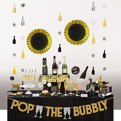 29pc New Years Eve Party Supplies Deluxe Bubbly Bar Decorating Kit  Banner Cards