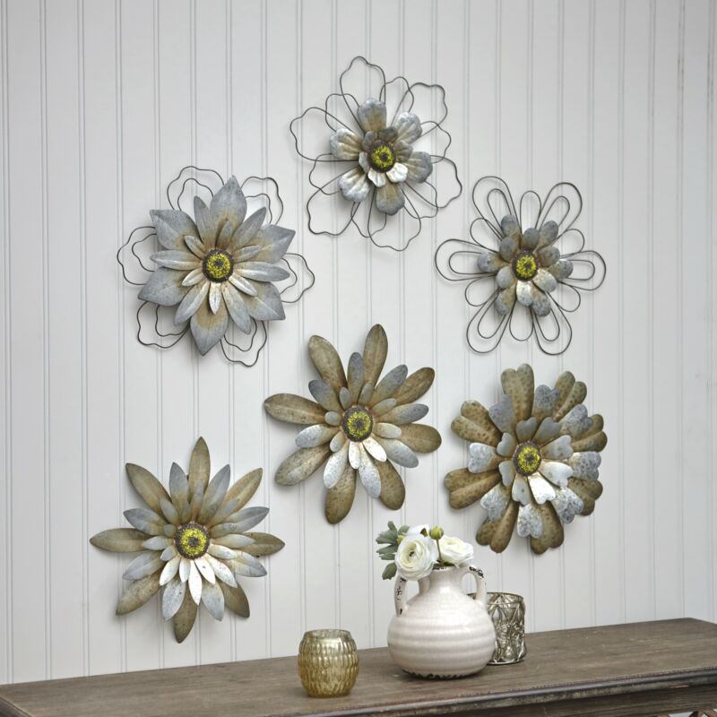 Rustic Galvanized Metal Hanging Wall Flowers - Floral Indoor Accents - Set of 3