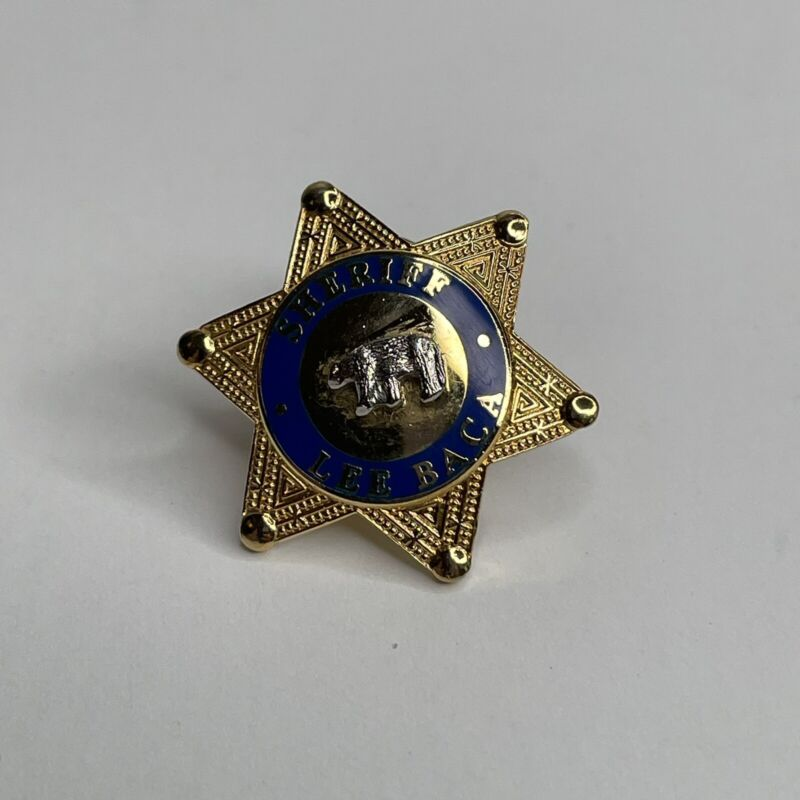 US California Sheriff Lee Baca Pin Small Gold-tone Vintage Tie Tack Brooch