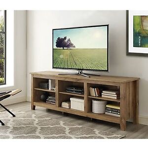 Walker Edison 70 inch Wooden TV Stand Storage Console in Barnwood Finish New