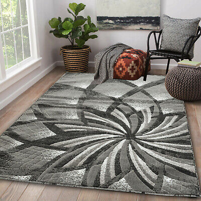 Area rug Nwprt #61 Modern gray and black soft pile size option 2x3 4x5 5x7 8x11 ()