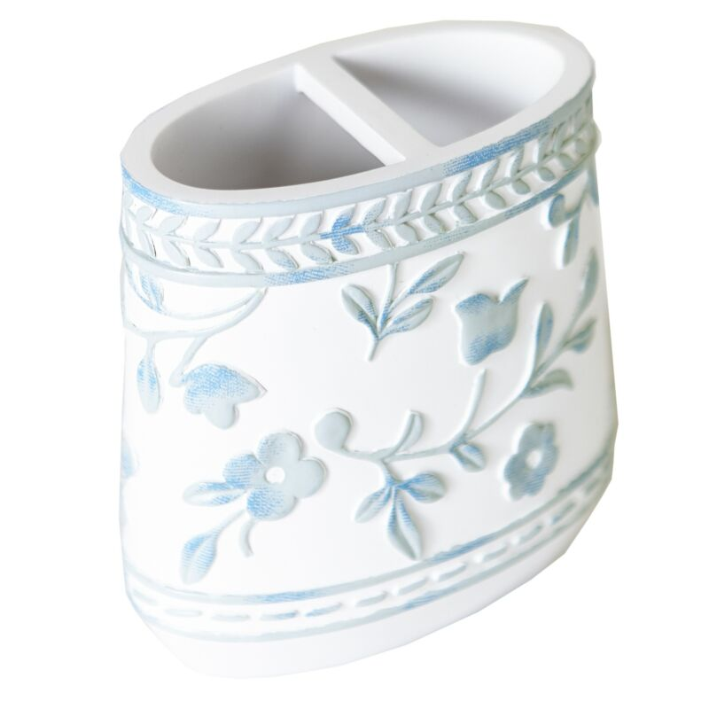 Madeleine Floral Accent Ceramic Toothbrush Holder with 2 Slots