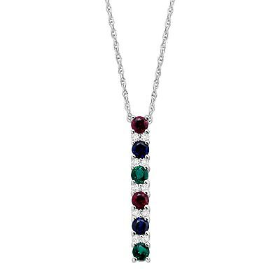 1 ct Created Emerald, Ruby & Sapphire Pendant in Sterling -