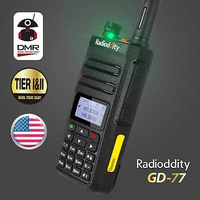 US Radioddity GD-77 Dual Band Tier II Digital Analog Walkie Talkie Two way Radio