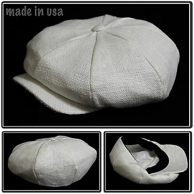 Woven linen 8 panel applejack newsboy carved snap brim cabbie made in usa white