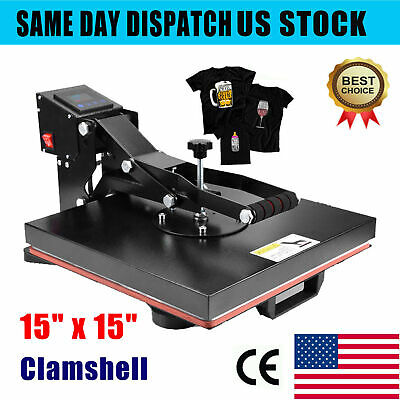 Heat Press Machine 15x15 Diy Digital Clamshell Sublimation Transfer For T Shirt