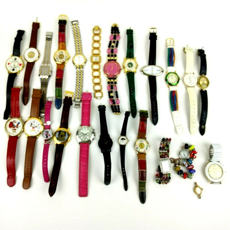 LOT of 25 Womens Costume Jewelry Fashion Watches Untested*