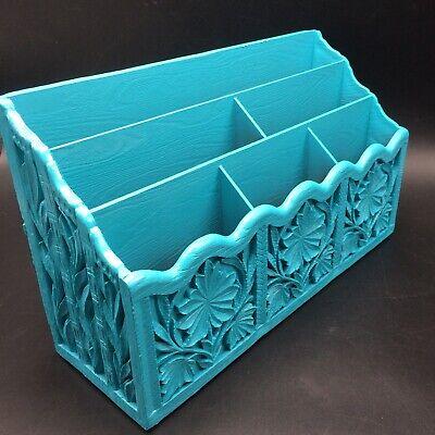 Turquoise Vtg Lerner Desk Organizer Letter Mail Pen Holder Sorter Office Storage