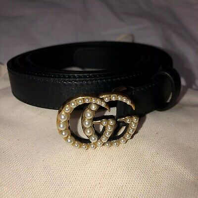 Authentic Gucci Black leather belt with pearl Double G | Size 95•38