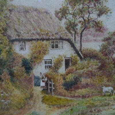 Original country cottage watercolour painting in vintage 42 x 33 cm frame. 15A. Vintage Painted Cottage