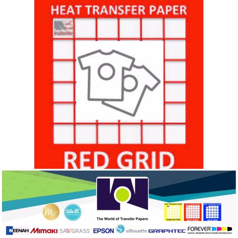 "RED GRID Inkjet Heat Transfer Paper Light color t shirt 8.5""x11"" 100 sheets"