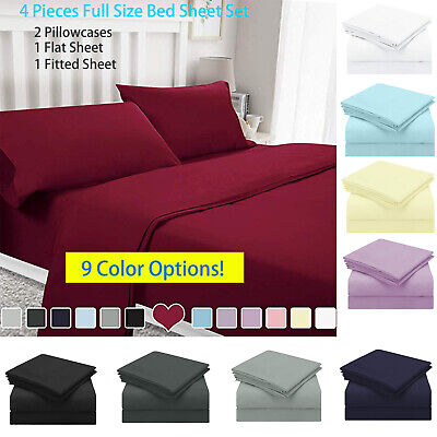 "15""Full Size Bed Sheet Set Soft Deep Pocket 2Pcs Flat Fitted Cover&2 Pillowcases"
