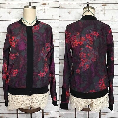 FABLETICS Ithaca Bomber Jacket Floral Print Limited Edition Athletic Sz Small S