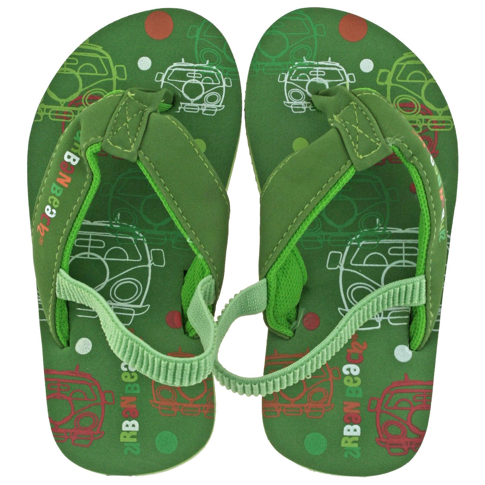 BNWT Little Boys Sz 9 Super Cute Green Camo Dinosaur Sling Back Beach Thongs