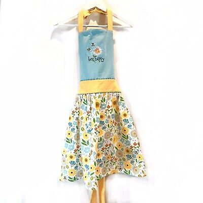 KAY DEE DESIGNS Embroidered Bee Happy Apron Cotton Yellow Floral Bee Design