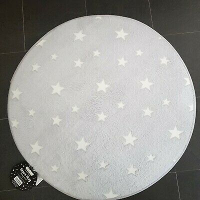 Grey star Rug Mat Bedroom/Nursery - 70x70cm🦄 Girls grey glow in the dark ()
