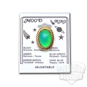 Adjustable Twisted Oval Mood Ring Retro 70s Hippie Chic Color Changing Chart New