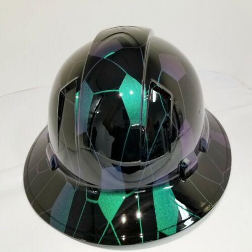 FULL BRIM Hard Hat custom hydro dipped COLOR SHIFT HEX CAMO BLACK SUPER SICK 2