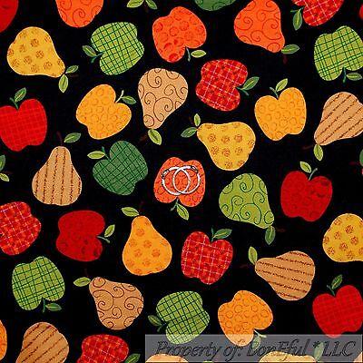 BonEful FABRIC Cotton Quilt Black Gold Pear Green Red Apple Fruit Stripe SCRAP