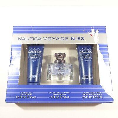 Nautica Voyage N-83 Gift Set Coty 3 Pc Shower Gel Eau De Toilette Shave Balm