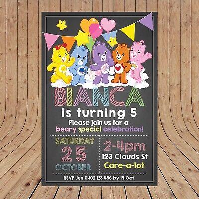 Personalised CARE BEARS Girls Kids Invitations Invites DIGITAL - YOU PRINT - ](Kids Invitations)