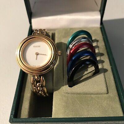 Vintage Gucci 1200 1100-L Interchangeable Bezel GP Wristwatch  6 Bezels