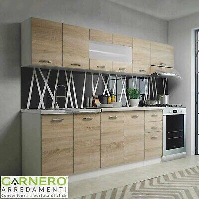 Cucina moderna componibile lineare completa COOK 260 cm rovere vetro design