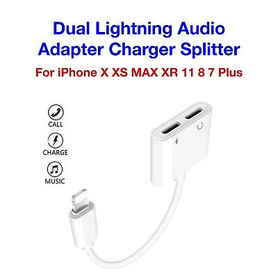 Dual Lightning Audio Adapter Charger Splitter For iPhone X XR XS MAX 11 8 7 Plus