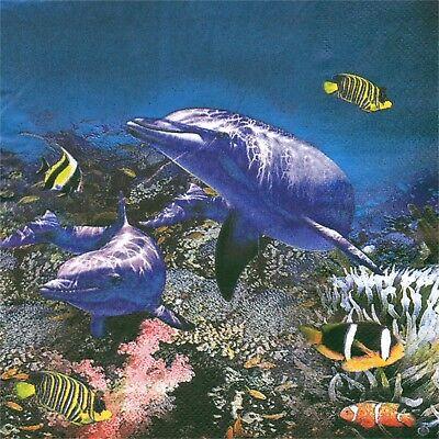 SERVIETTES EN PAPIER DAUPHIN POISSONS MER OCEAN FOND MARIN.PAPER NAPKINS DOLPHIN Dolphin Papier