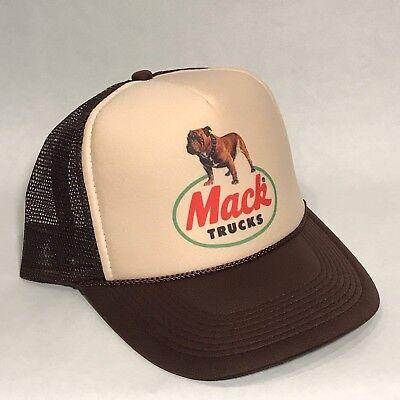 Mack Trucks Trucker Hat Brown Bulldog  Logo! Vintage Style Snapback Cap - Mack Truck Hats