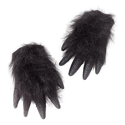 Erwachsene Schwarz Affe Gorilla Kostüm Handschuhe Hände Schimpanse Pelzig (Affen Hände Kostüm)