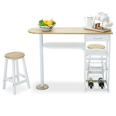 Kitchen Oak White Island Cart Trolley Dining Table Storage 2 Bar Stools & Drawer