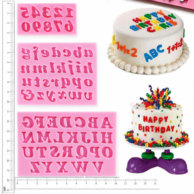 3x Silicone Alphabet Number Letters Fondant Mould Sugarcraft Cake Decorating