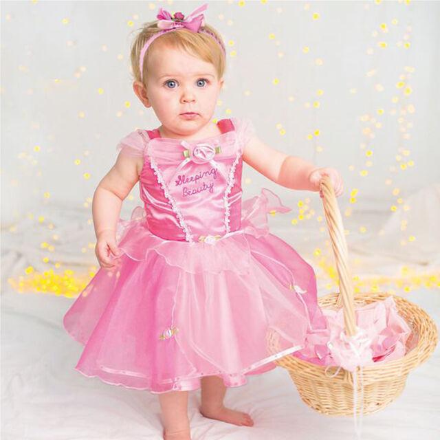 Baby Toddler Disney Princess Aurora Sleeping Beauty Fancy Dress Costume Outfit