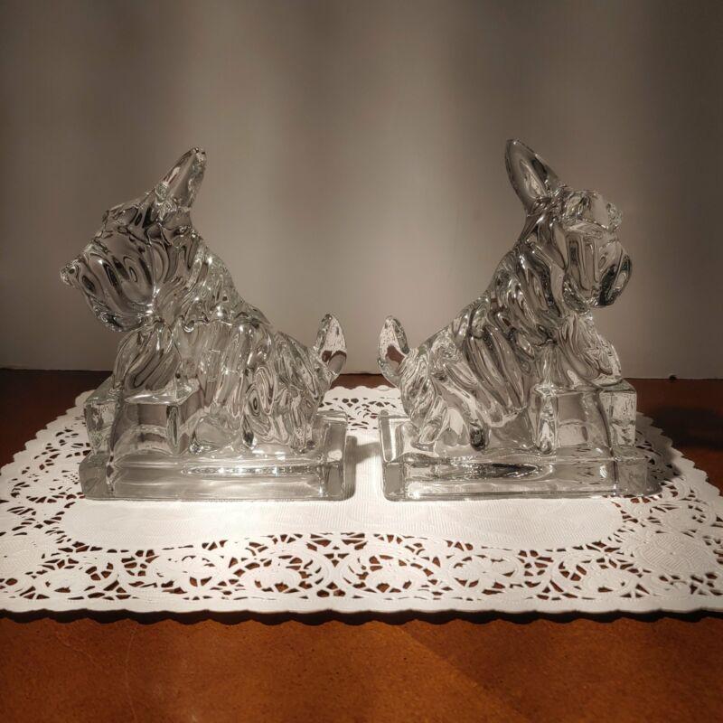 Cambridge Glass, clear Scottie dog bookends