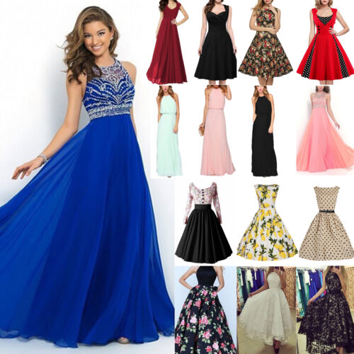Dress - Womens Lace Floral Maxi Long Retro Dress Evening Party Wedding Prom Ball Gowns